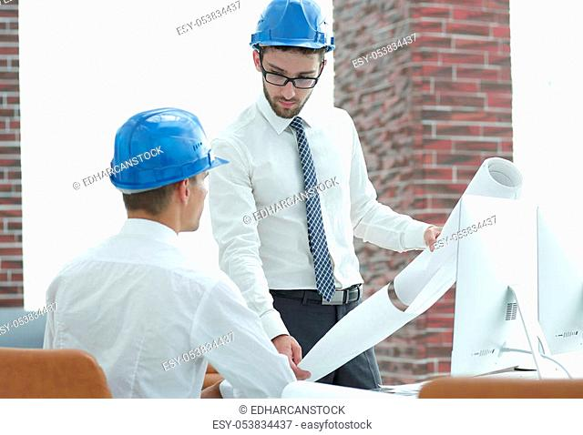 architect and engineer, discussing the building project