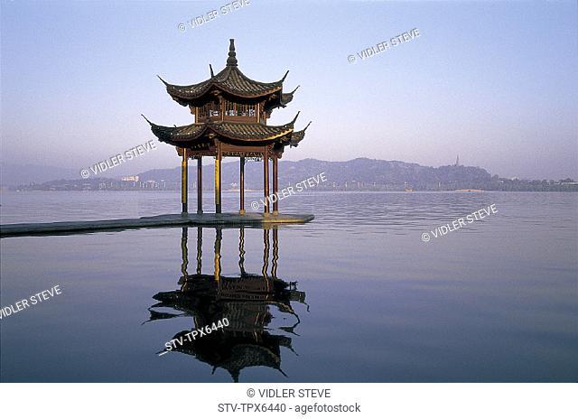 Architecture, Asia, China, Chinese, Hangzhou, Holiday, Lake, Landmark, Moody, Pagoda, Province, Reflection, Temple, Tourism, Tra