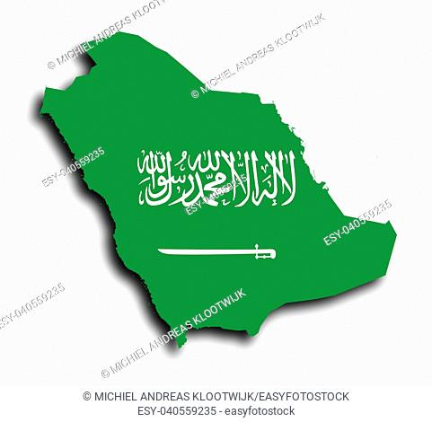 Saudi arabia map filled with flag, isolated