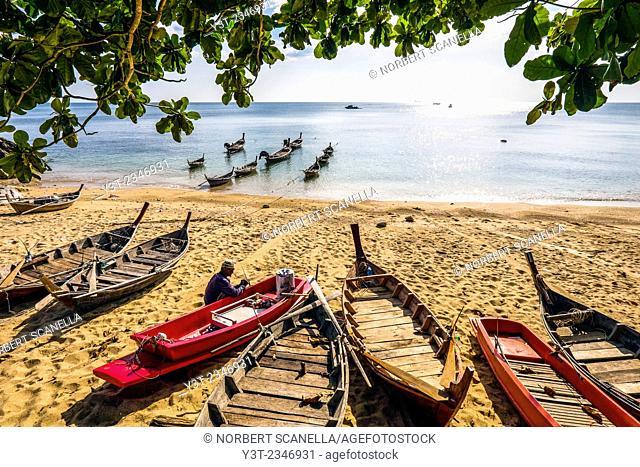 Asia. Thailand. Koh Lanta island. Klong Nin Beach. Man working at repairing traditional fishing boats