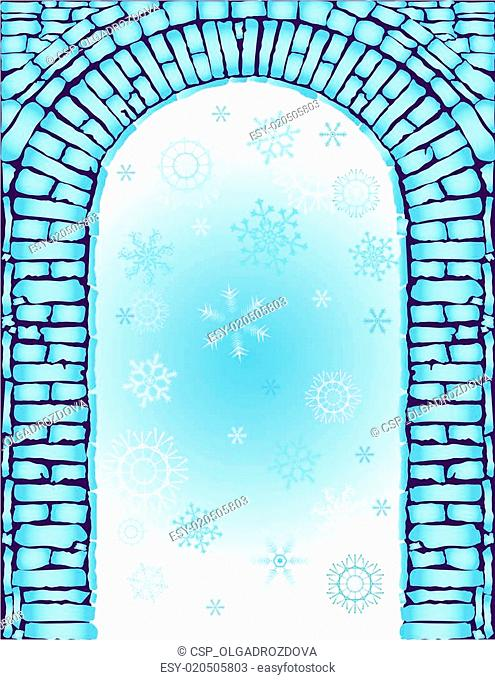 Blue christmas background with arch (vector)