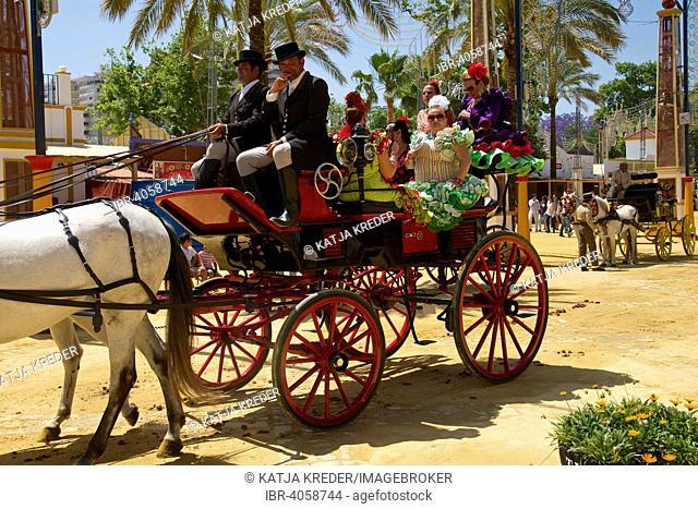 Carriages at the Feria del Caballo, Jerez de la Frontera, Andalusia, Spain