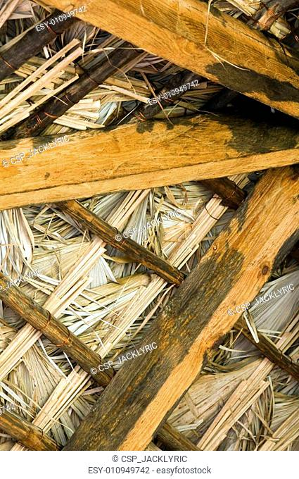 Thatched Roof Construction Stock Photo