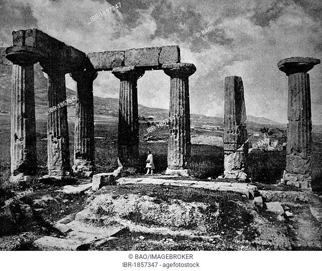 Early autotype of the Apollo temple in the ruins of Corinth, Peloponnes, Greece, historical photograph, 1884