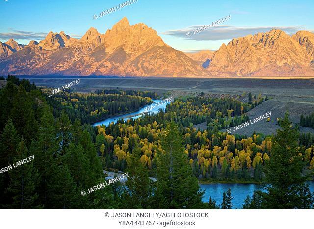 Grand Teton Range at sunrise from Snake River Overlook  Grand Teton National Park, Wyoming, United States