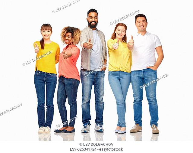 diversity, race, ethnicity and people concept - international group of happy smiling men and women showing thumbs up over white