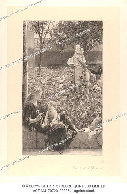 Childish Affections, 1883, Engraving on chine collé, chine collé sheet: 16 3/4 x 11 1/4 in. (42.5 x 28.5 cm), Prints, After Sir Lawrence Alma-Tadema (British...