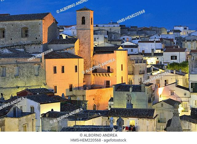 Italy, Apulia, Gargano, Monte Sant'Angelo, the typical houses of the neighbourhood Junno