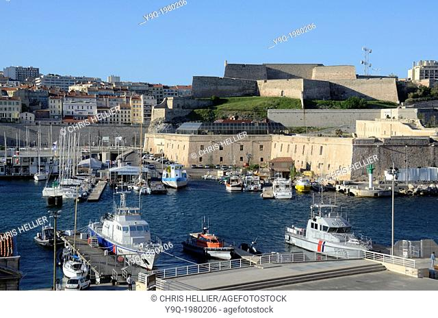 Coast Guard Boats and Saint Nicolas Fort Old Port or Vieux Port Marseille France