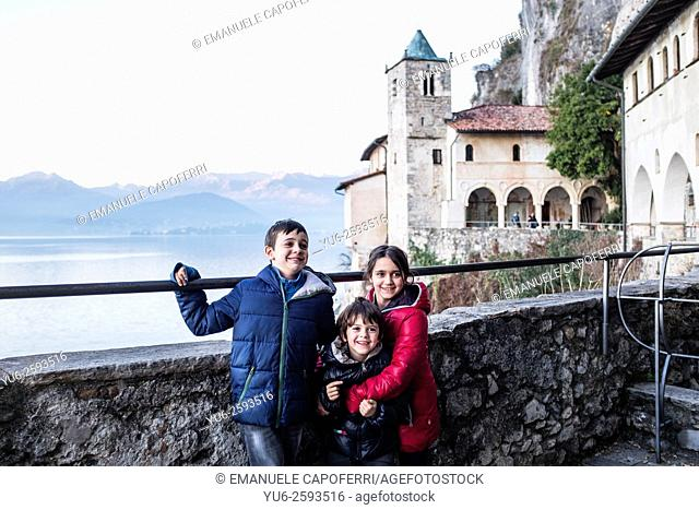 Children at the hermitage of Santa Caterina del Sasso, Lake Maggiore, Italy