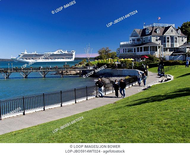 The Cruise Liner Caribbean Princess moored off Bar Harbour in Maine