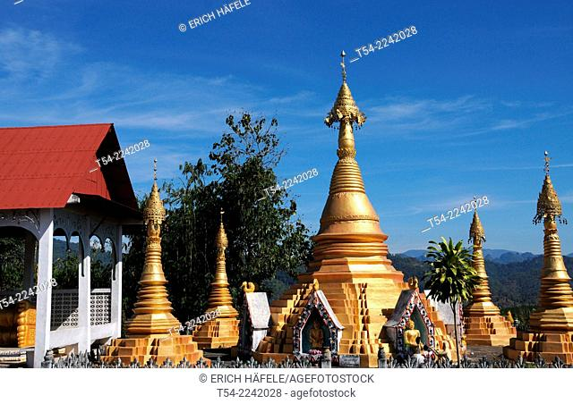 Golden Chedis of a Province Temple near Sanglaburi