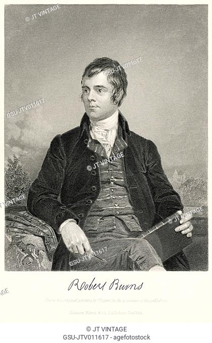 Robert Burns (1759-96), Scottish Poet and Lyricist, Half-Length Portrait, Steel Engraving, Portrait Gallery of Eminent Men and Women of Europe and America by...