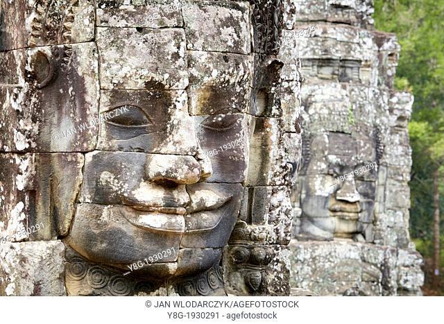 Angkor Temples - stone faces of Bayon Temple towers, Angkor Thom, Cambodia, Asia