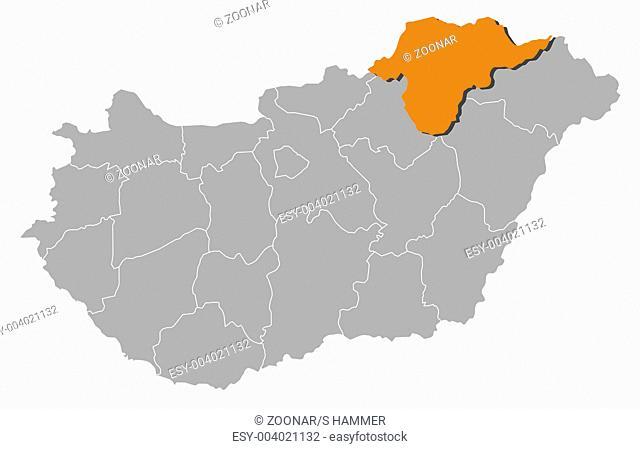 Map of Hungary, Borsod-Abaúj-Zemplén highlighted