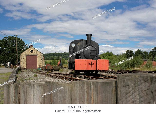 England, County Durham, Beamish. A steam locomotive at Beamish, The Living Museum of the North. Beamish is an open air museum displaying life in North East...