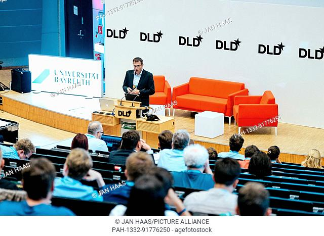 BAYREUTH/GERMANY - JUNE 21: Dennis Riedl (Börsenmedien) speaks on the stage during the DLD Campus event at the University of Bayreuth on June 21th