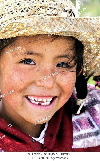 Girl with hat, Bolivian Altiplano highlands, Departamento Oruro, Bolivia, South America