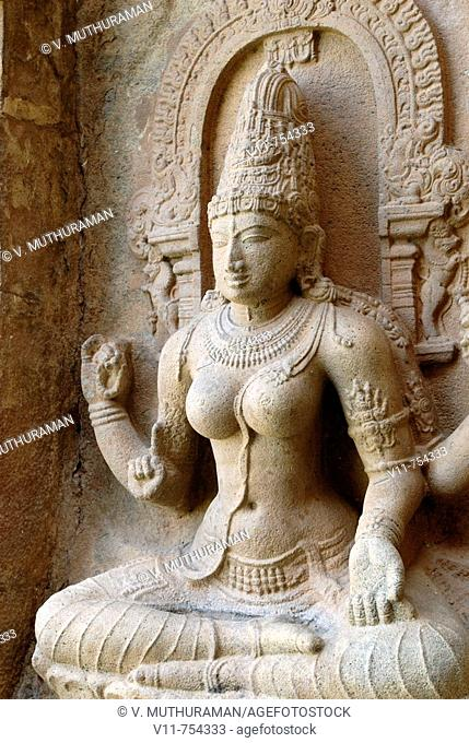 Saraswathi, the goddess of learning,seated on a lotus in Gangaikondacholapuram, Tamil Nadu, India. Gangaikondacholapuram was erected as the capital of the...