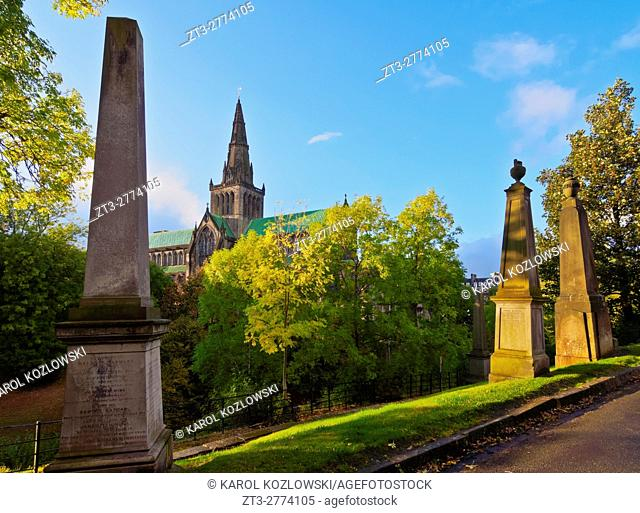 UK, Scotland, Lowlands, Glasgow, The Necropolis, View towards The Cathedral of Saint Mungo