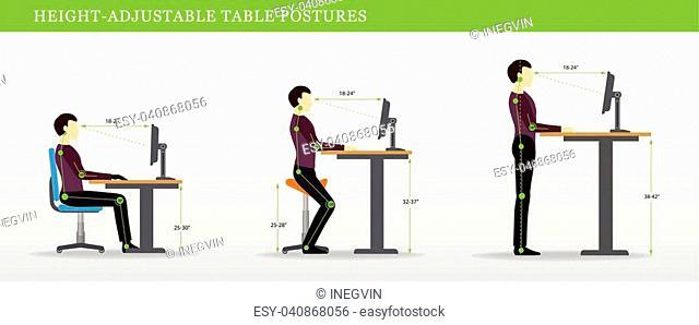 Height Adjustable and Standing Desks correct poses. Ergonomics healthy postures