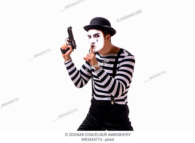 Mime with handgun isolated on white background