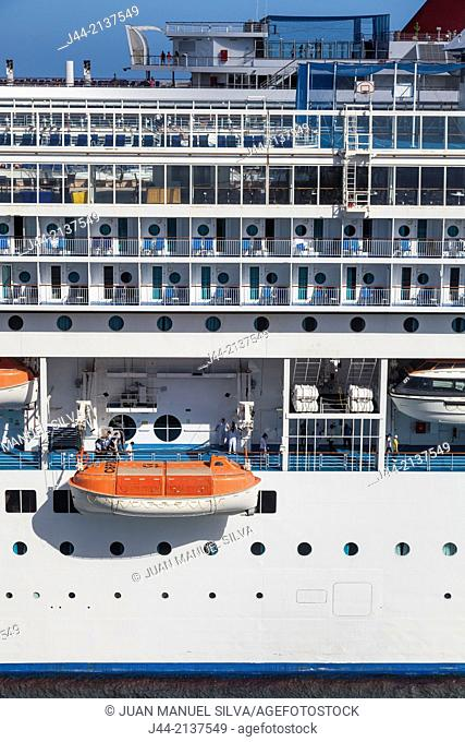 Lifeboats on cruise ship