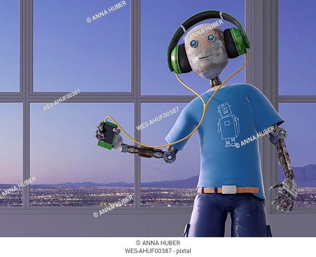 Robot listening to music with headphones, 3d rendering