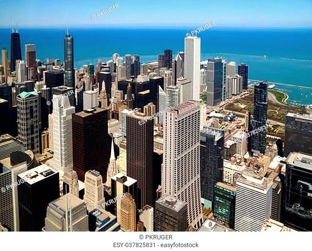 Chicago downtown aerial panorama view with skyscrapers and city skyline at Michigan lakefront