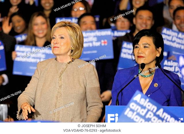 SAN GABRIEL, LA, CA - JANUARY 7, 2016, Democratic Presidential candidate Hillary Clinton stairs at crowd at Asian American and Pacific Islander (AAPI) members