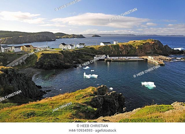 village, bay, secluded, icebergs, iceberg, Crow Head, Twillingate, Newfoundland, Canada, landscape, nature, coast, rocky