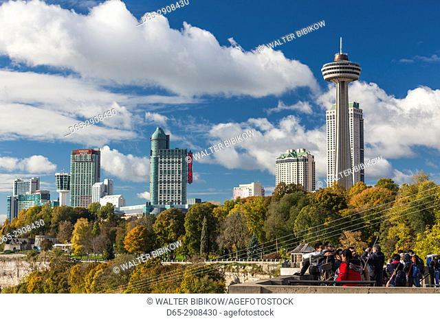 Canada, Ontario, Niagara Falls, high rise buildings by the falls