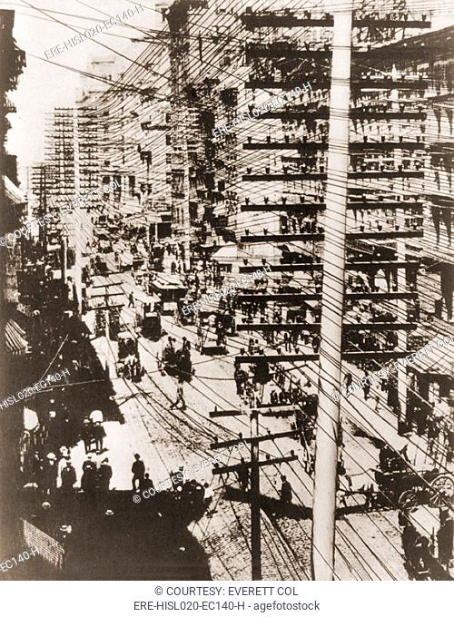 Telephone wires over New York, 1887