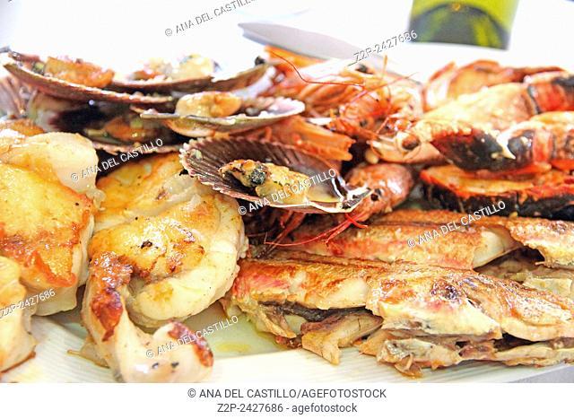 Mariscada seafood platter in Galicia Spain