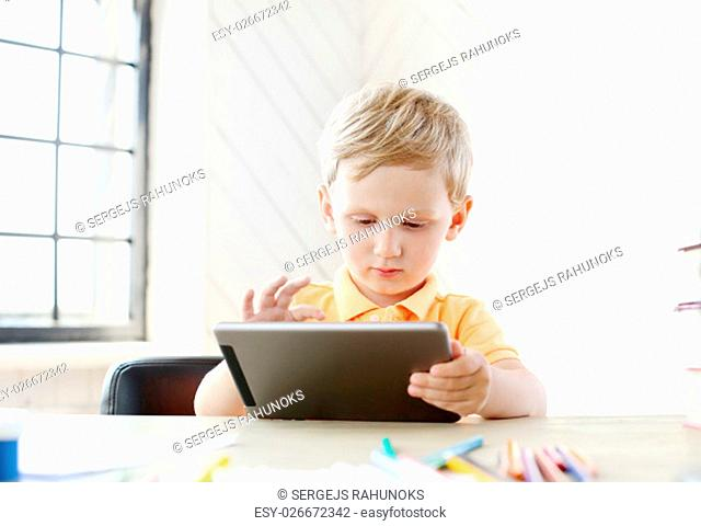 Child. Cute boy at home