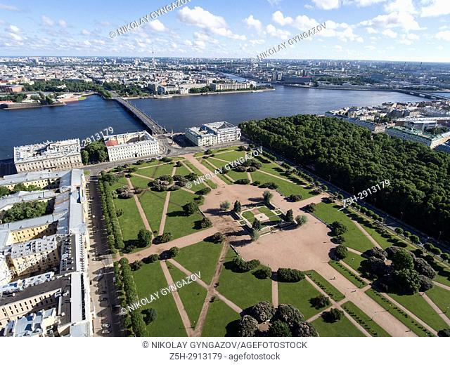 "Park """"Marsovo Pole"""" from a bird's-eye view. Saint Petersburg. Russia"