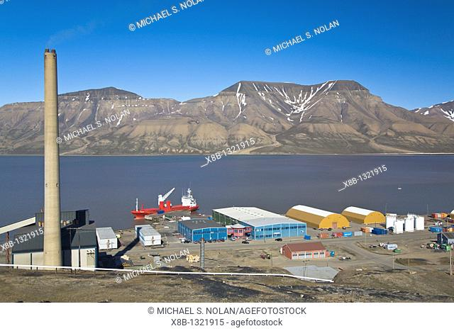 A view of the town of Longyearbyen on the west side of Spitsbergen Island in the Svalbard Archipelago in the Barents Sea, Norway