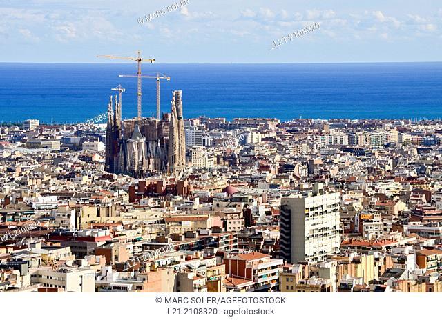 Cityscape of Barcelona with Sagrada Familia, Barcelona, Spain