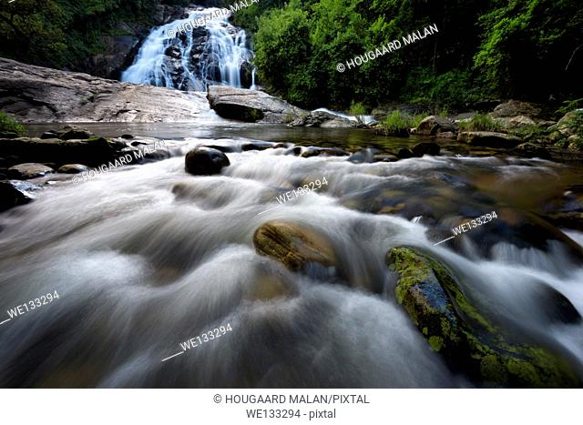 Landscape photo of one of the cascades in the Debengeni falls. Debengeni Falls, Magoebaskloof, Limpopo, South Africa