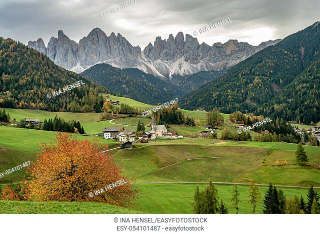 The famous church St. Magdalena in Santa Maddalena in Villnoess valley, South Tyrol on a colourful autumn day