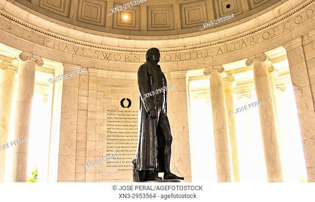 Rudulph Evans's statue of Thomas Jefferson, Jefferson Memorial, Washington, D.C., United States, USA