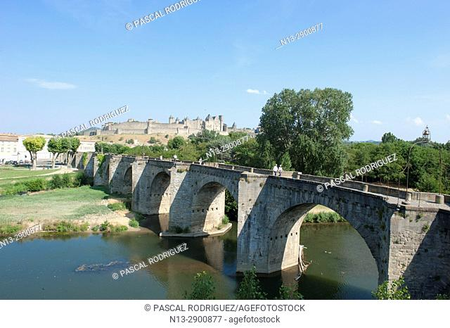 "World heritage of UNESCO, the Cite of Carcassonne and """"old bridge"""" with Aude river. Occitanie France"