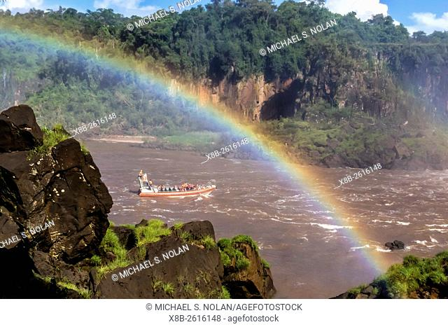 A river boat at the base of the falls, Iguazú Falls National Park, Misiones, Argentina, South America