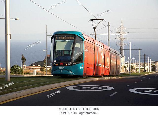 El tranvia tranvia de tenerife electric tram heading downhill towards santa cruz canary islands spain