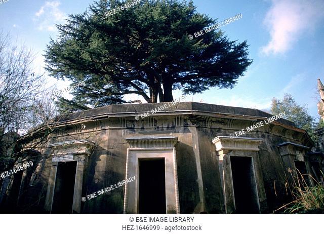 The Circle of Lebanon, Highgate Cemetery, London. Western side