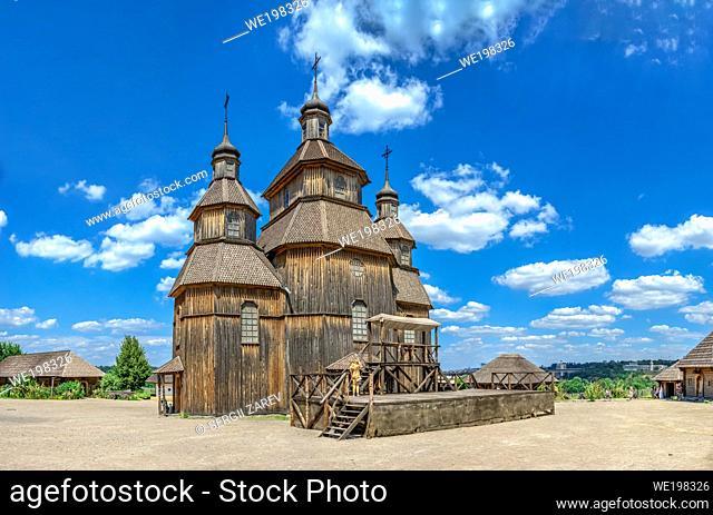Zaporozhye, Ukraine 07. 20. 2020. Wooden church in the National Reserve Khortytsia in Zaporozhye, Ukraine, on a sunny summer day