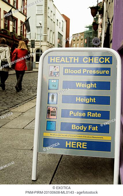 Information sign for health check in a street, Republic of Ireland