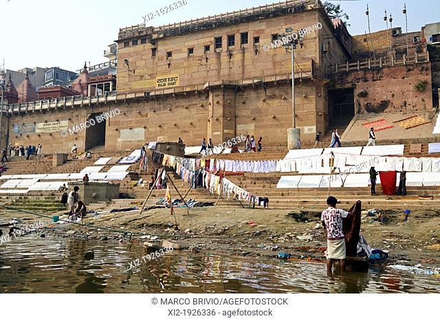 Everyday life on the ghats of river Ganges  Varanasi, Uttar Pradesh, India