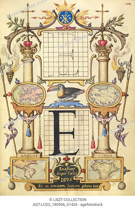 Guide for Constructing the Letter E; Joris Hoefnagel (Flemish , Hungarian, 1542 - 1600); Vienna, Austria; about 1591 - 1596; Watercolors, gold and silver paint