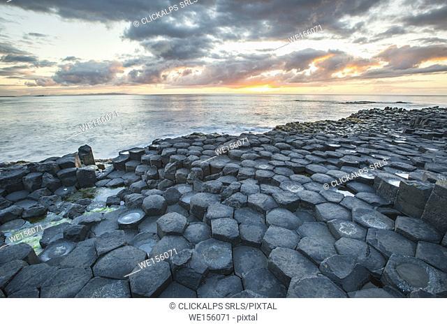 Northern Ireland, County antrim, Giants causeway at sunset
